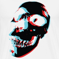 White 3 Color Skull T-Shirts