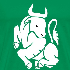 Bright green Taurus, White 1 T-Shirts - Men's Premium T-Shirt
