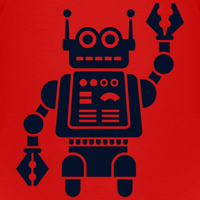 Friendly Robot [sparkly blk on red]