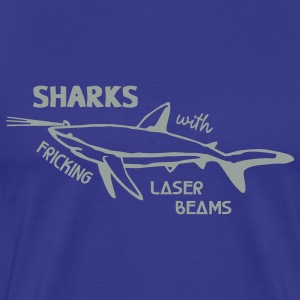 Royal blue Sharks With Laser Beams T-Shirts - Men's Premium T-Shirt