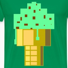 Bright green Mint Choc Chip Ice Cream Large T-Shirts