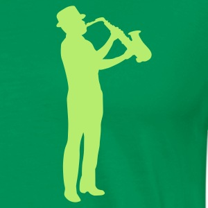 Bright green saxophonman T-Shirts - Men's Premium T-Shirt