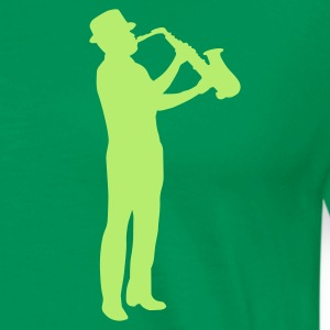 Forest green saxophonman T-Shirts - Men's Premium T-Shirt