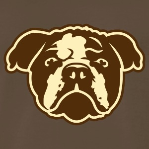 Chocolate bulldog_puppy_head_only_2c_outlined T-Shirts - Men's Premium T-Shirt