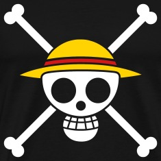 Black Straw Hat Pirates Flag for Black Shirts T-Shirts