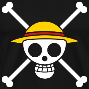 Black Straw Hat Pirates Flag for Black Shirts T-Shirts - Men's Premium T-Shirt