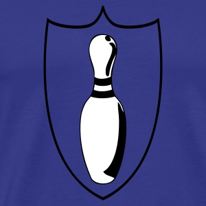 Royal blue custom bowling league shield  T-Shirts - Men's Premium T-Shirt