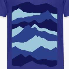 Royal blue mountains - nature - waves - water Kids' Shirts