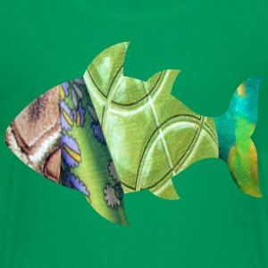 Kelly green collage art FISH (greens) Kids' Shirts - Kids' Premium T-Shirt