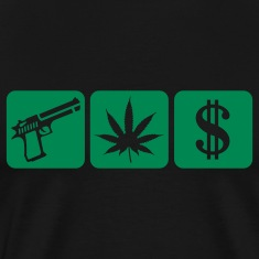 Black guns weed cash T-Shirts
