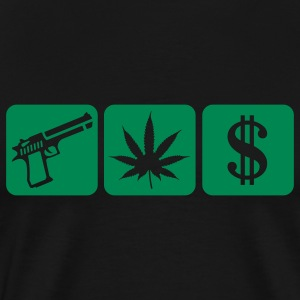 Black guns weed cash T-Shirts - Men's Premium T-Shirt