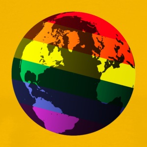 Gold gay pride globe T-Shirts - Men's Premium T-Shirt