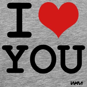 Heather grey i love you by wam T-Shirts - Men's Premium T-Shirt
