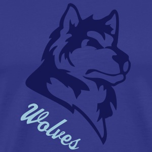 Royal blue wolf or wolves or huskies custom T-Shirts - Men's Premium T-Shirt