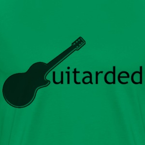 'Guitarded' shirt with vertical 'Guitarded' design  - Men's Premium T-Shirt