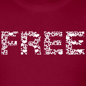 Burgundy free word white with summer of love symbols T-Shirts - Men's T-Shirt