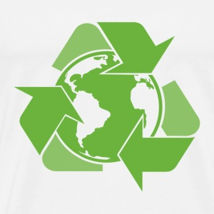 White Recycle Earth Green T-Shirts - Men's Premium T-Shirt