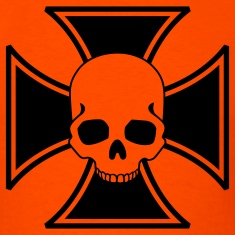Orange iron cross skull T-Shirts