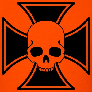 Orange iron cross skull T-Shirts - Men's T-Shirt