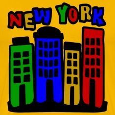 Yellow New York City Brownstones, 4 Color--DIGITAL DIRECT ONLY T-Shirts
