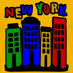 Yellow New York City Brownstones, 4 Color--DIGITAL DIRECT ONLY T-Shirts - Men's Premium T-Shirt
