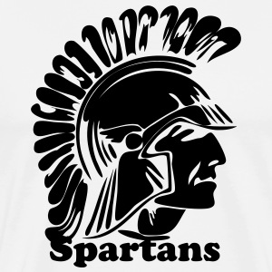 White Trojan or Spartan Custom Team Graphic T-Shirts - Men's Premium T-Shirt