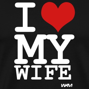 Black i love my wife by wam T-Shirts - Men's Premium T-Shirt