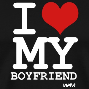 Black i love my boyfriend by wam T-Shirts - Men's Premium T-Shirt