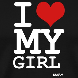Black i love my girl by wam T-Shirts - Men's Premium T-Shirt
