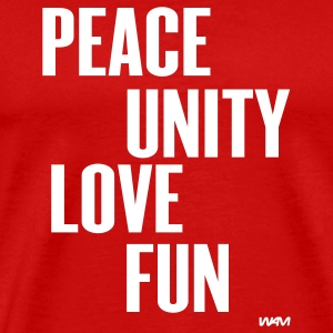 Red peace unity love fun( zulu nation ) by wam T-Shirts - Men's Premium T-Shirt