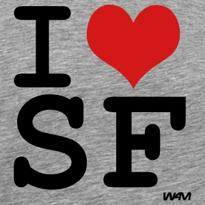 Heather grey i love sf ( san francisco ) by wam T-Shirts - Men's Premium T-Shirt