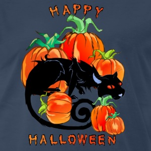 Happy Halloween Black Kitty - Men's Premium T-Shirt