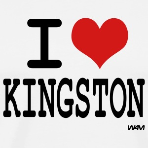 White i love kingston by wam T-Shirts - Men's Premium T-Shirt