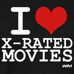 Black i love x rated movies by wam T-Shirts - Men's Premium T-Shirt