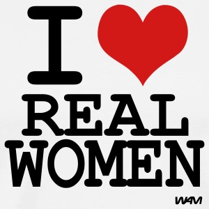 White i love real women by wam T-Shirts - Men's Premium T-Shirt