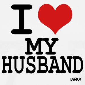 White i love my husband by wam T-Shirts - Men's Premium T-Shirt