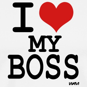 White i love my boss by wam T-Shirts - Men's Premium T-Shirt
