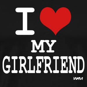 Black i love my girlfriend by wam T-Shirts - Men's Premium T-Shirt
