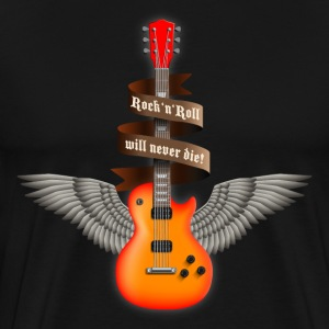 Black rock_guitar_a_red T-Shirts - Men's Premium T-Shirt