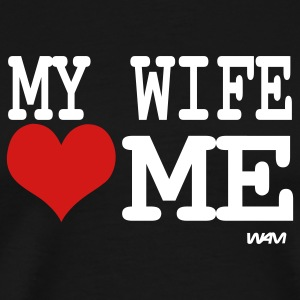 Black my wife loves me by wam T-Shirts - Men's Premium T-Shirt