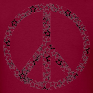 Burgundy Star Peace Sign T-Shirts - Men's T-Shirt