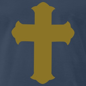Navy fancy gothic cross T-Shirts - Men's Premium T-Shirt