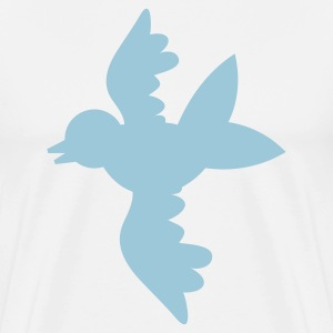 White pretty blue bird flying open wings T-Shirts - Men's Premium T-Shirt