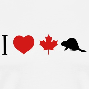 White I Heart Canadian Beaver T-Shirts - Men's Premium T-Shirt