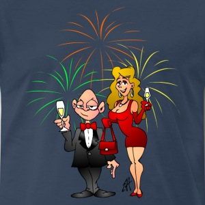 Happy New Year with fireworks and champagne - Men's Premium T-Shirt