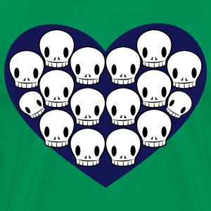 Bright green skulls in love heart shape T-Shirts - Men's Premium T-Shirt
