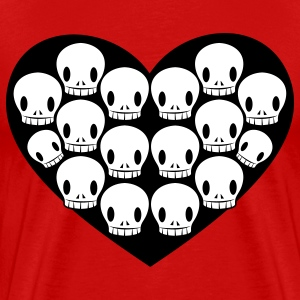 Red skulls in love heart shape T-Shirts - Men's Premium T-Shirt