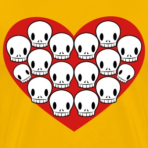 Gold skulls in love heart shape T-Shirts - Men's Premium T-Shirt