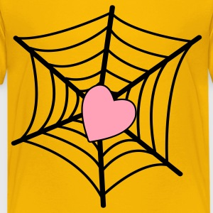 Yellow web with heart Kids' Shirts - Kids' Premium T-Shirt