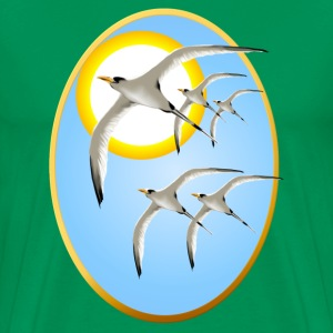 Framed Five Tropic Birds and Sun - Men's Premium T-Shirt